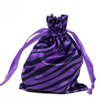 Zebra-stripe satin silk bag with ribbon drawstring 3