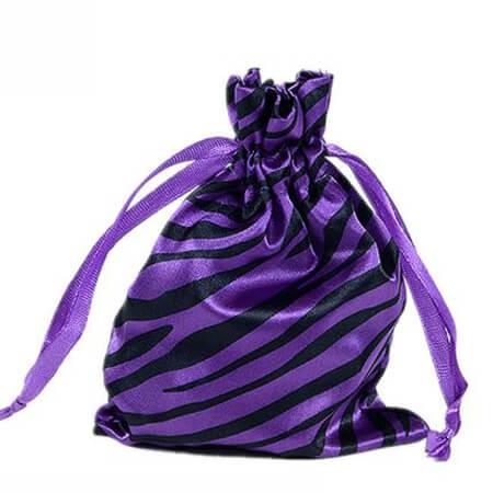 Zebra-stripe satin silk bag with ribbon drawstring 3