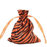Zebra-stripe satin silk bag with ribbon drawstring 4