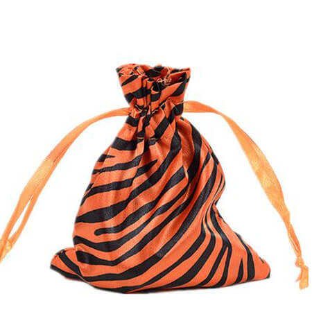 Zebra-stripe satin silk bag with ribbon drawstring 4
