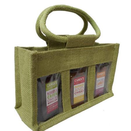 3 Jar jute bag with PVC window 3