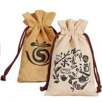Custom design jute tea gift bag 1