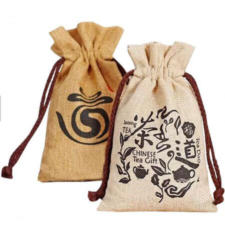 Custom design jute tea gift bag 1