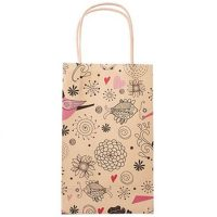Small printing flower paper shopping bags 3