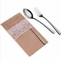 Burlap lace banquet cutlery bags wedding decoration 1