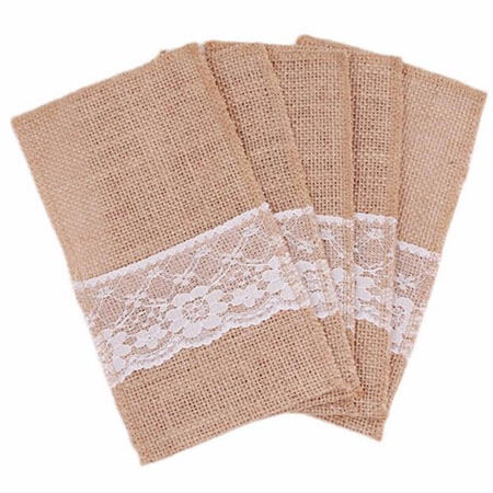 Burlap lace banquet cutlery bags wedding decoration 2
