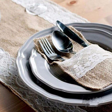 Burlap lace banquet cutlery bags wedding decoration 3