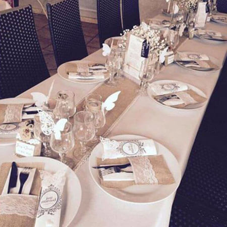 Burlap lace banquet cutlery bags wedding decoration 4
