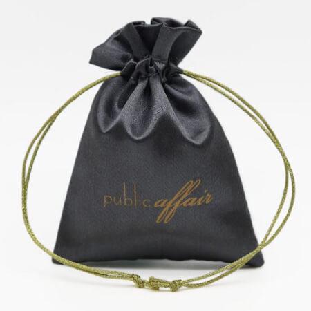 Custom drawstring satin bag black 1