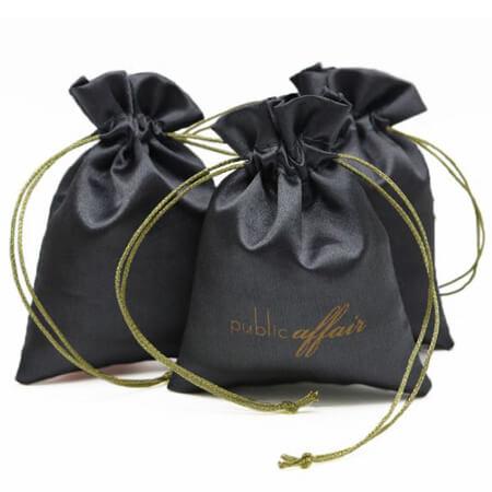 Custom drawstring satin bag black 2