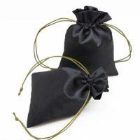 Custom drawstring satin bag black 3