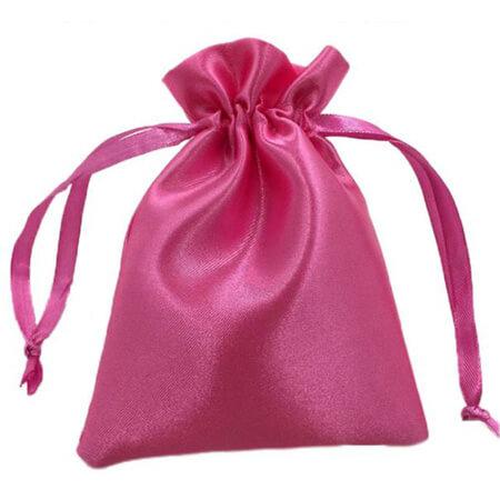Pink drawstring satin pouch 1
