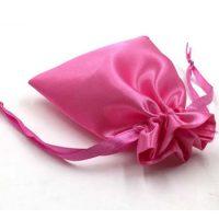 Pink drawstring satin pouch 2