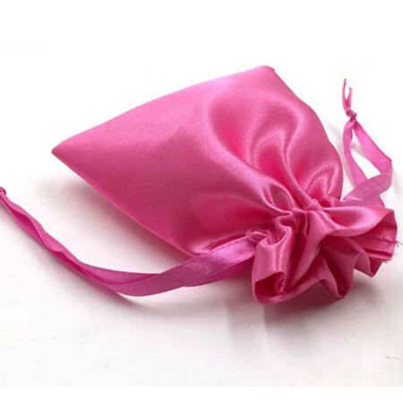 Pink drawstring satin pouch 2