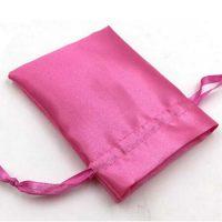 Pink drawstring satin pouch 3