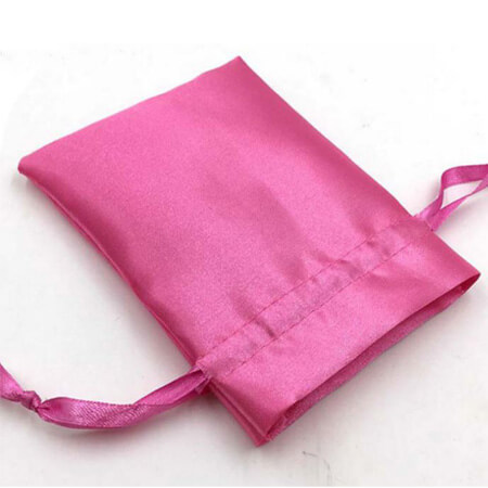 Pink drawstring satin pouch 3