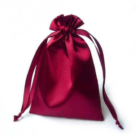 Pink drawstring satin pouch 4