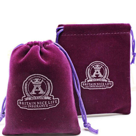 Purple drawstring velvet pouch 1