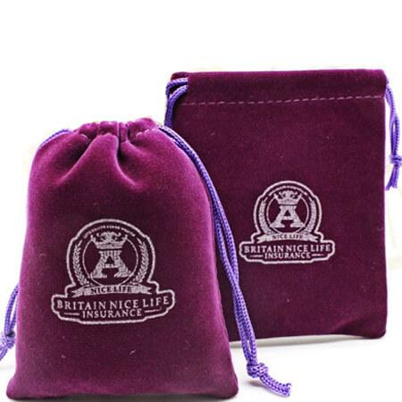 Purple drawstring velvet pouch 1