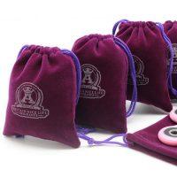 Purple drawstring velvet pouch 2