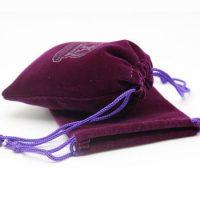 Purple drawstring velvet pouch 3