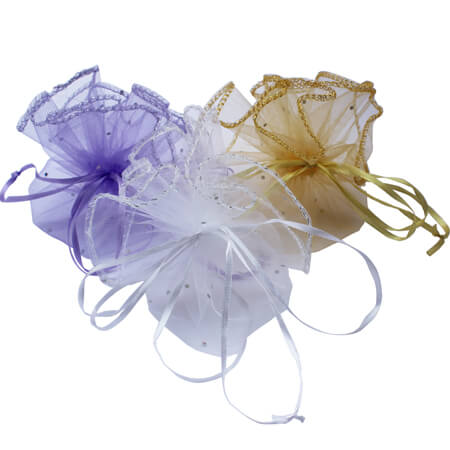 Round organza pouch for jewelry packaging 3
