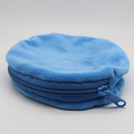 Round velvet pouch with zipper 1