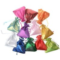 Smooth satin silk drawstring pouch 1