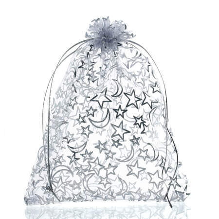 Star moon white organza jewelry bags 1