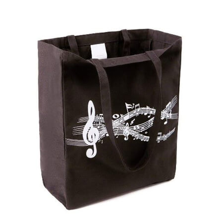 Black cotton bag with gusset 2