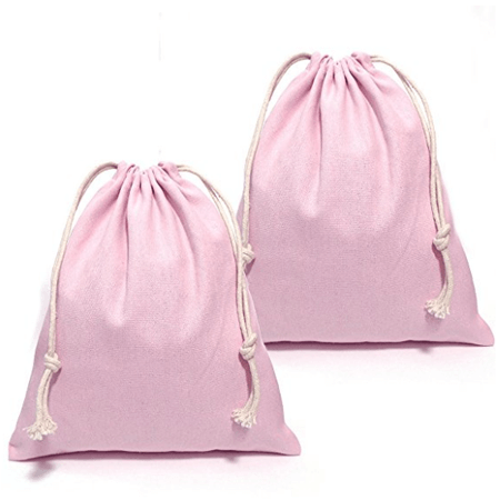 Pink cotton canvas drawstring bag 1