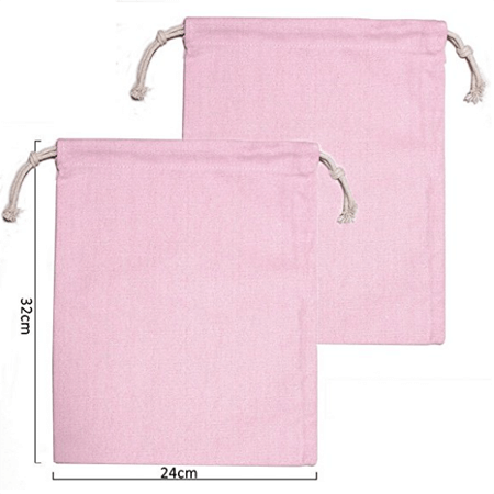 Pink cotton canvas drawstring bag 4