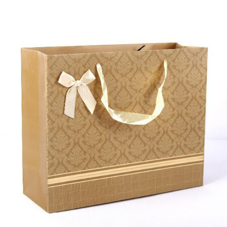 Luxury art paper bags with ribbon 1