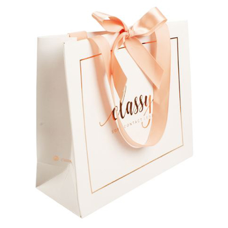 Luxury art paper bags with ribbon 3