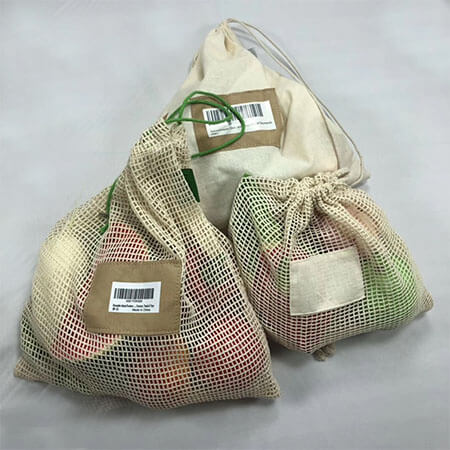 Organic cotton reusable drawstring bags 1