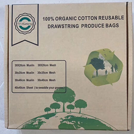 Organic cotton reusable drawstring bags 3