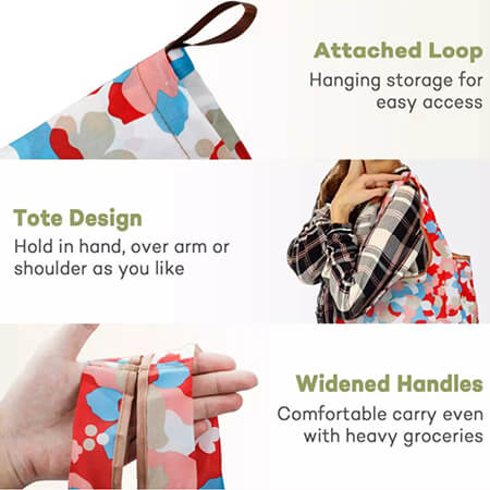 Fashion reusable folding polyester handbags 3