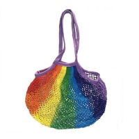 Rainbow knitted string cotton mesh grocery bag 1