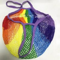 Rainbow knitted string cotton mesh grocery bag 2