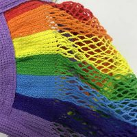 Rainbow knitted string cotton mesh grocery bag 3