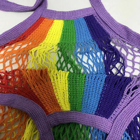 Rainbow knitted string cotton mesh grocery bag 4
