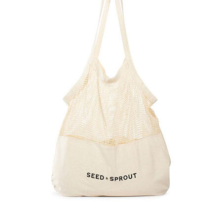 Mesh cotton shopping bag with canvas bottom 1