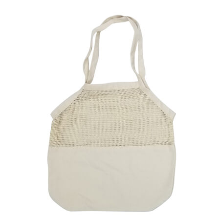 Mesh cotton shopping bag with canvas bottom 2