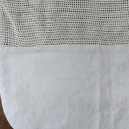 Mesh cotton shopping bag with canvas bottom 4