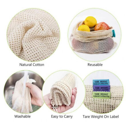 Organic cotton net bags set 3