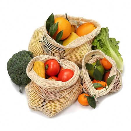 Organic cotton net bags set 4