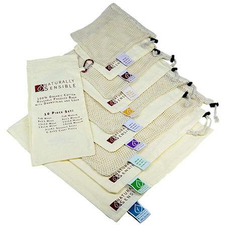 Produce bags in organic mesh & muslin 1