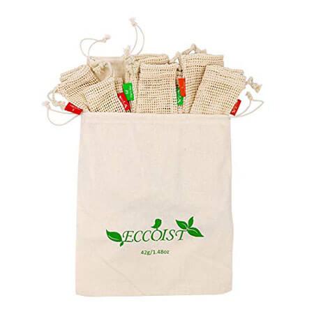 Produce bags in organic mesh & muslin 4