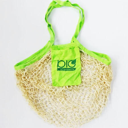 Cotton mesh bag with small bag 1